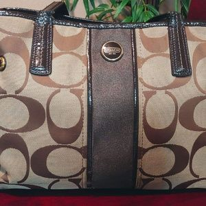 Coach Tan & Light Brown Monogram Handbag